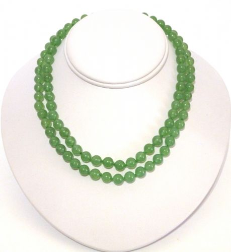 2 strand pale green aventurine jade necklace